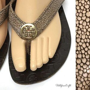 TORY BURCH Thora STINGRAY Leather Thong Sandal 6.5